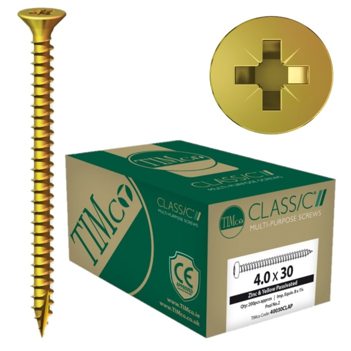 Yellow plated wood screw