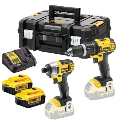 DEWALT DCZ285M2T 18V XR COMBI DRILL & IMPACT DRIVER TWIN KIT INC 2X 4.0AH BATTS