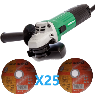 4.5 '' hitachi koki angle grinder   + 25 free 4.5 '' cutting disc
