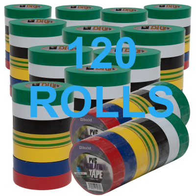 120 Rolls of insulating tape mixture of colours