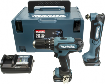 Makita CLX203AJ1 10.8V 2 Piece Kit c/w Makita HP331DZ Combi Drill, Makita TM30D Multi Tool 2 x 2.0Ah Batteries & Accessory Set