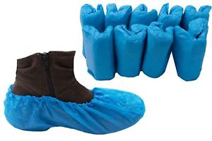 Packs of blue overshoes