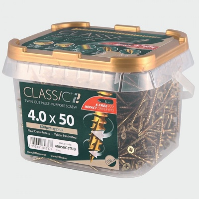 Tubs of classic yellow plated  woodscrews