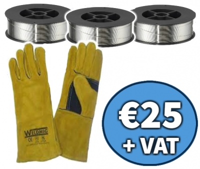 3 coils of .8mm flux wire & gold mig gloves