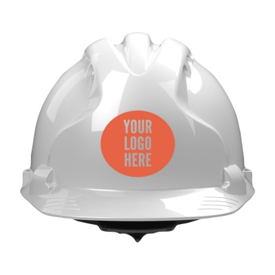 White hard hat with logo