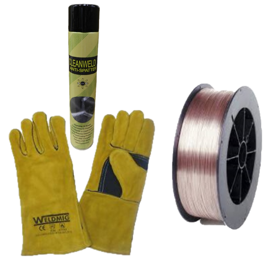 Coil of Welding Wire, Pair of Gold Mig Gloves & can of Antispatter