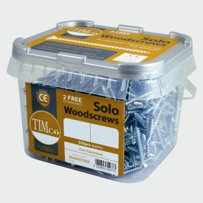 Tubs of solo zinc plated woodscrews