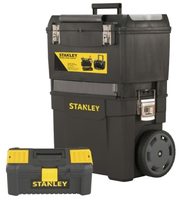 Stanley mobile work center with stanley latch toolbox