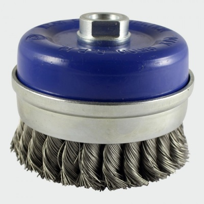 100mm knotted cup brush stainless steel