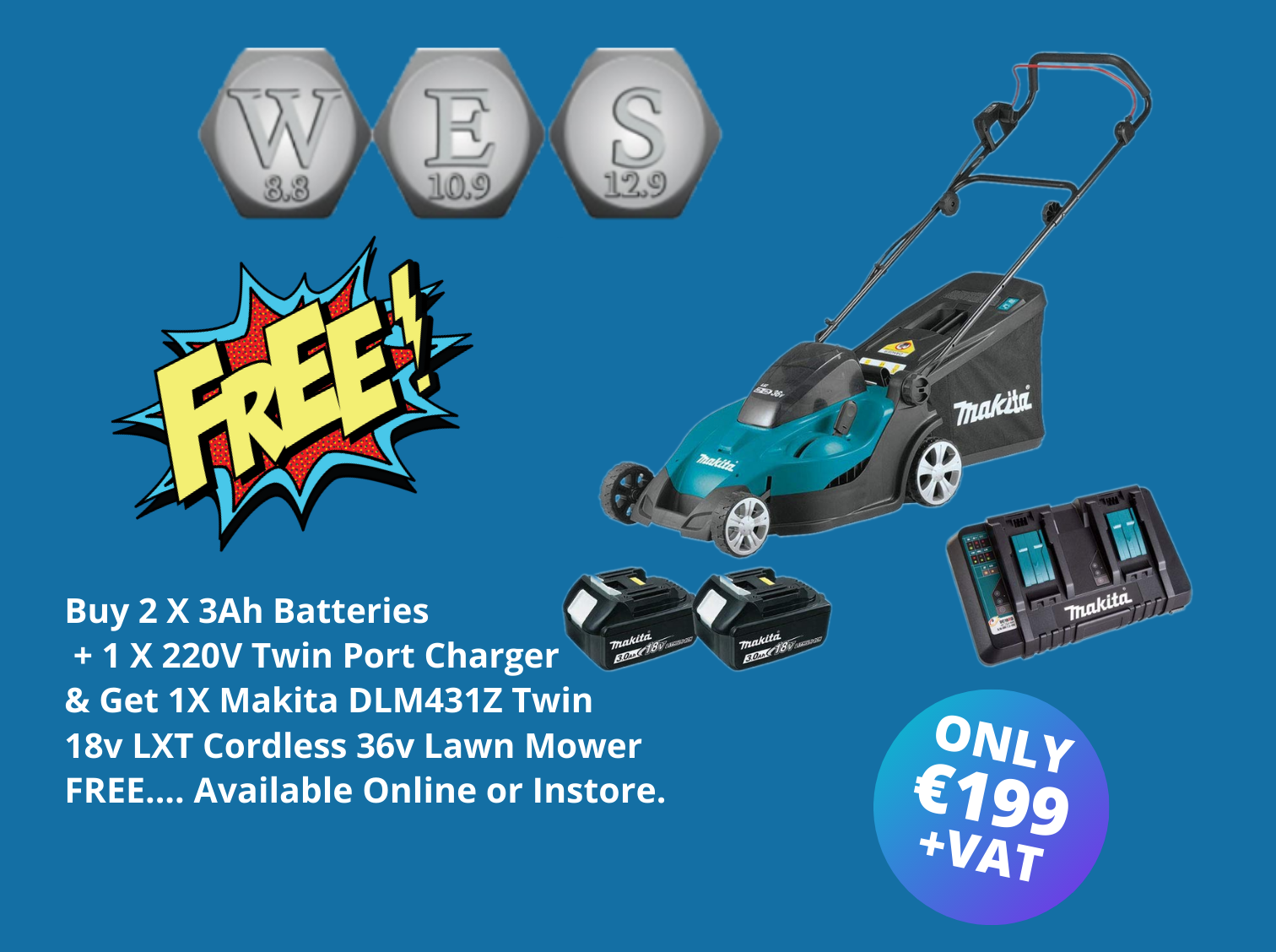 2 x MAK632G12 3.0Ah Batteries & DC18RDZP Dual Port Charger With FREE Makita DLM431PT2 18v/36v LXT Cordless Lawn Mower